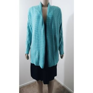 Chicos Size 3 Turquoise Ribbed Open Front Cardigan